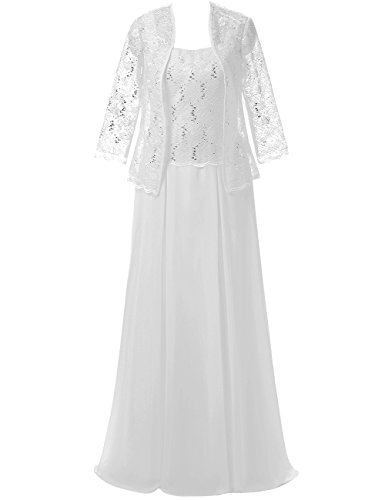 Womens of Formal Cdress White Jacket the Prom Lace Chiffon Long with Dresses Bride Mother d6dqIraPw