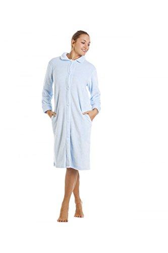 Camille Blue Knee Length Button Up Front Fleece Housecoat 10/12 (Fleece Housecoat)