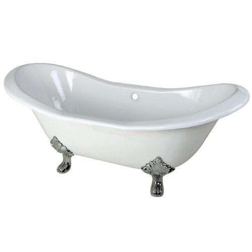 Kingston Brass Aqua Eden VCTND7231NC1 Cast Iron Double Slipper Clawfoot Bathtub with Chrome Feet without Faucet Drillings, 72-Inch, White
