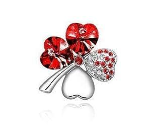 Precioso macetero rojo con cristales de Swarovski de piedras de cristal Accent de trébol de cuatro hojas broche con forma de, regalo Ideal para cumpleaños/Navidad/boda