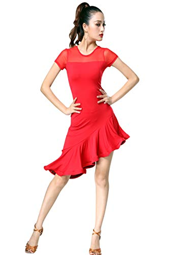 ZX Women's Latin Dancewear Mesh Neck Short Sleeve Swallowtail Rumba Salsa Dance Dress (Tag L, Red) ()