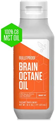 Bulletproof Brain Octane MCT Oil, 100% C8 from Coconuts, Fat Burning, Brain Boosting, Keto-Friendly, Paleo, Vegan, Organic Non-GMO, Rainforest-Alliance Certified (16 Ounce)