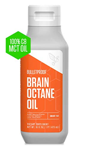 Bulletproof Brain Octane MCT Oil, 100% C8 from Coconuts, Fat Burning, Brain Boosting, Keto-Friendly, Paleo, Vegan, Organic Non-GMO, Rainforest-Alliance Certified (16 Ounce)