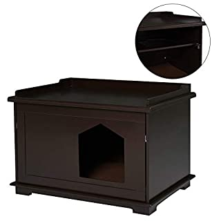PawHut Wooden Cat Litter Box Covered Mess Free End Table Hideaway Storage Cabinet, Brown