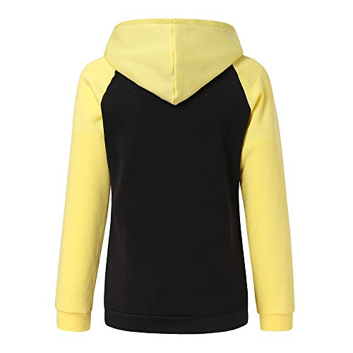 Sweat Loisirs Manches Manteau Pullovers Automne Femme Chemises Chat Lache Tops Imprimes Mode Yellow Longues Couleur Peibo Patchwork Hoodie La q0pwZnwf