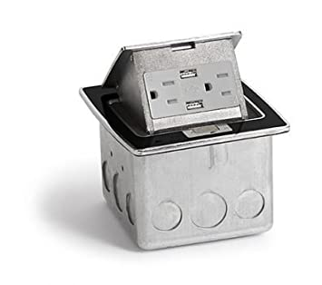 Black, Pop Out Counter Top Plate Assembly, with 20 amp (TR) Single Power/2 USB Receptacle Lew Electric PUFP-CT-BK-2USB