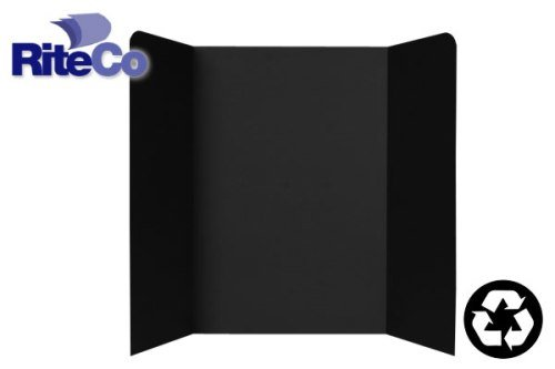 RiteCo 22103 Tri-Fold Display Boards, 48'' x 36'', Black (Pack of 24)