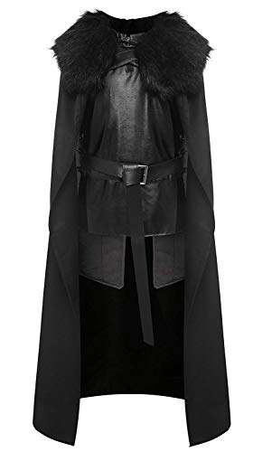 starfun Game of Thrones Night's Watch Jon Snow Cosplay Costume Halloween Full Set Outfit Cape for Adult and Child (Medium, Black)]()