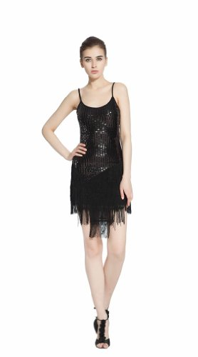 [Smarts Dance Womens Fringe Ballroom Salsa Samba Rumba Tango Swing Cha Cha Tango Rhythm Latin Dance Gowns Black Us 8 Uk 10] (Chacha Dance Costume)