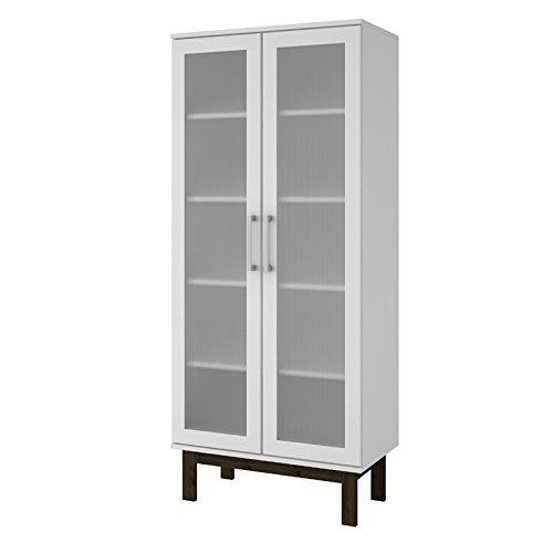 (Manhattan Comfort Serra 2.0 Bookcase Collection Modern 5 Shelf Bookcase Display Case with 2 Glass Doors and Wooden Legs, White)