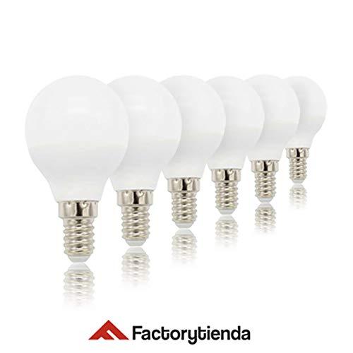Pack 6 Bombillas LED G45, 4W,(equivalente a 40W), casquillo E14