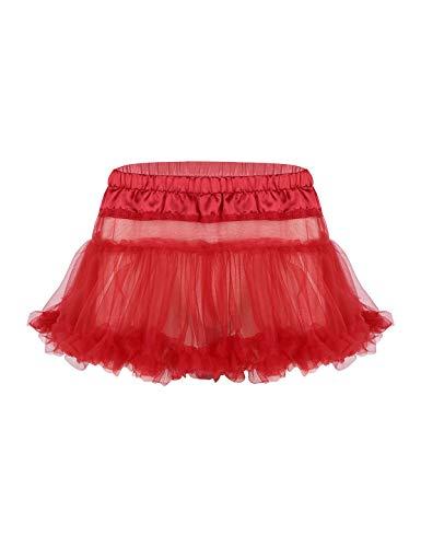 inlzdz Men's Satin Frilly Ruffled Tulle Layered Mini Petticoat Skirt Sissy Crossdress Tutu Skirts Red One ()