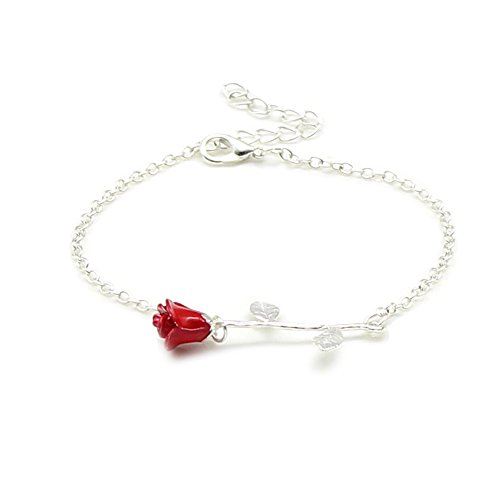 Flower Pendant Bracelet (Charm 3D Red Rose Flower Pendant Necklace, Romantic Rose Gift For Women, Beauty and the Beast Rose Jewelry, Gardeners Necklace (silver bracelet))