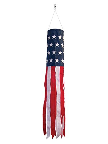 In the Breeze Best Selling Stars and Stripes 40 Inch Windsock - Embroidered Stars - Durable Patriotic Hanging Decoration (American Flag Windsock)