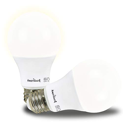 AmeriLuck Dusk to Dawn Auto On/Off LED Light Bulbs A19, 60W Equivalent (9W), for Porch Hallway Yard Patio Garage (5000K Daylight, 2 Pack)