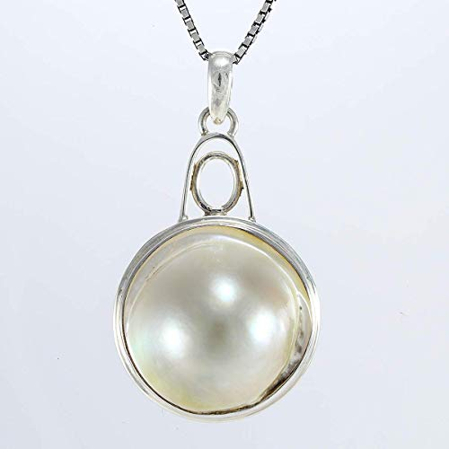 1 12 Mabe Blister Pearl In Shell Handmade 925 Sterling Silver Pendant