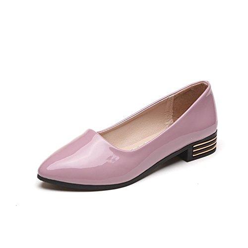 scarpe Wild a sandali brevetto rosa 37 pelle scarpe punta donna scarpe da basso primavera donna superficiale estate ITTXTTI in nero tacco da OXFZ4gZ