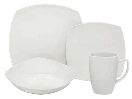 Melange Square 16-Piece Porcelain Dinnerware Set (White) | Service for 4 | Microwave, Dishwasher & Oven Safe | Dinner Plate, Salad Plate, Soup Bowl & Mug (4 Each) (Italian Dinner Square Countryside Plate)