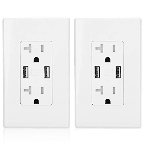 Mount USB Receptacle Outlet with 2 Charging Ports (3.4A Shared), Screwless Wall Plates Included, UL Listed, White[2 Pack] ()