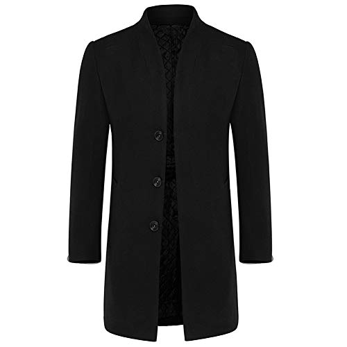 Mens Stylish Woolen Overcoat Slim Fit Mid Long Stand Collar Warm Trench Coat Black