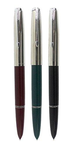 Sipliv 3PCS Classic Fountain Pen Hero 616, in 3 Colors, Silver Trim