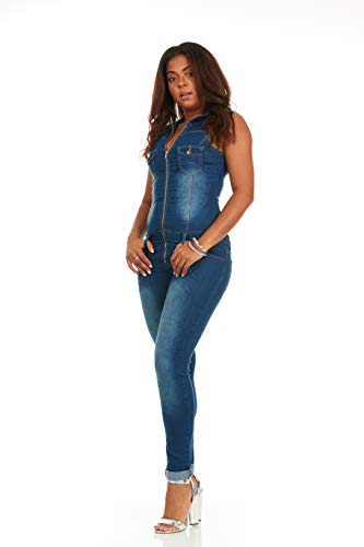 d89cbc797c3 Jual Cover Girl Women s Denim Jumpsuit Sleeveless Skinny Fit Zip Up ...