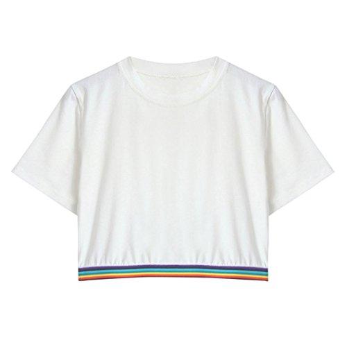 MRULIC Frauen-Kurzschluss-Hülsen-Regenbogen Druckte zufälliges T-Shirt O-Ansatz-Weste-Oberseiten-Bluse Weiß