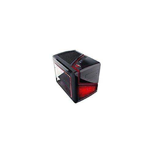 APEVIA X-QBER-RD Micro ATX Cube Gaming/HTPC Case, Supports VGA up to 320mm/ATX PS, 2 x Windows, USB3.0/USB2.0/HD Audio/SD/Micro SD Ports, 1 x 140mm Red LED fan, Flip Open Design, Dust Filter – Red