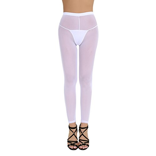 Freebily Women's Sheer Leggings Footless Pantyhose Tights Pants Trousers White One Size (Stretchy Tights Footless Leggings)