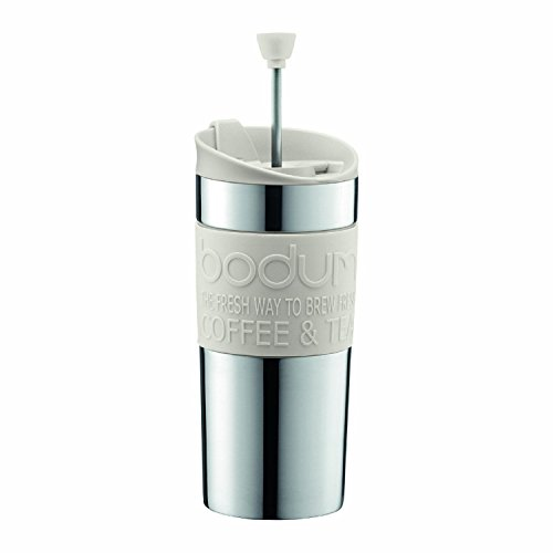 Bodum Coffee Travel Press With Extra Lid Stainless Steel - Off White - 0.35 L, 12 Oz