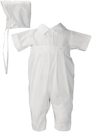White Poly Cotton One Piece Christening Baptism Coverall with Pin Tucking