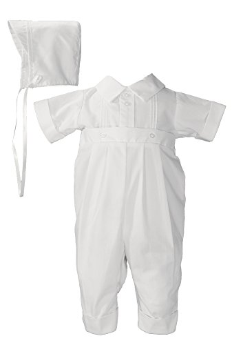 White Poly Cotton One Piece Christening Baptism Coverall with Pin Tucking by Little Things Mean A Lot