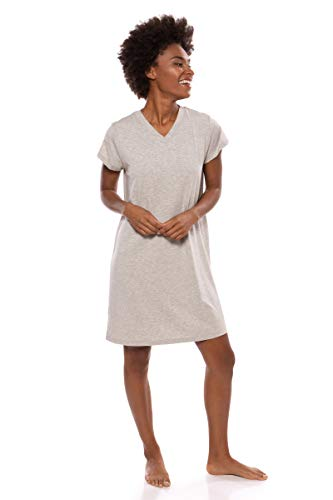 (Women's Jersey V-Neck Sleep Shirt - Comfortable Tee Dress by Texere (Lexxie, Heather Platinum, 2X) Super Soft Short Sleeve Nightgown for Her TX-WB043-002-21G2-X-2X)