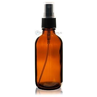 4 Oz (120 ml) AMBER Boston Round Glass Bottle w/ Black Mist Sprayer - pack of 6