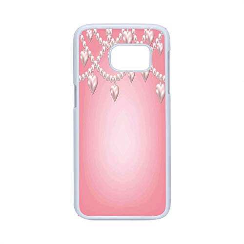 Cell Phone Case Compatible Samsung Galaxy S7,Pearls Decor - Hard Plastic Phone Case/White - Heart Pearl Necklace Design Vintage Style Accessory Love Celebrating Artwork Print Decorative - Pearl White Heart Design