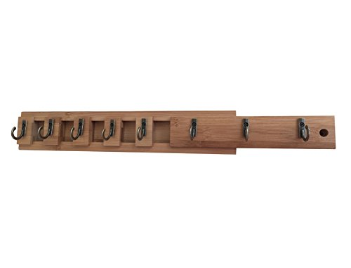New and Improved Wood Expandable Cabinet Organizer with 8 Heavy Duty Hooks by Axis International Marketing