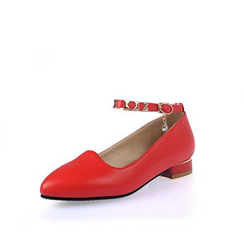 BalaMasa Ladies Metal Ornament Studded Rhinestones Metal Buckles Red Microfiber Pumps-Shoes - 4.5 B(M) (Satin Sandal Rhinestone Ornament)