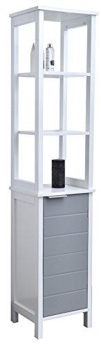 room Floor Cabinet Linen Tower Shelves-Modern D-White Grey ()