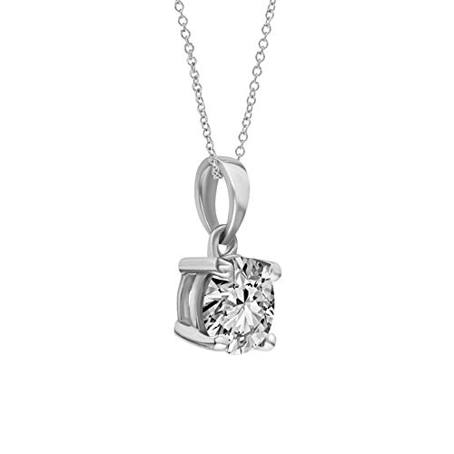 0.25 Pendant New (New Year Sales IGI Certified Diamond Gold Necklace For Women Natural Diamond Necklace Gifts For Women 10K White Gold 1/4 Carat H-I-I1 Diamond Pendant Necklace Real Diamond Necklace (Diamond Jewlery))