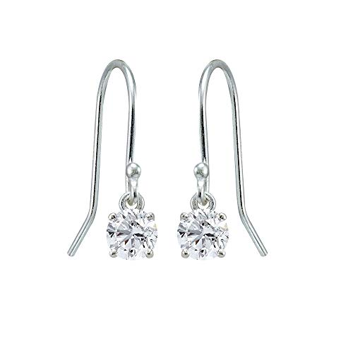 Sterling Silver Created White Sapphire 5mm Round Small Solitaire Dangle Earrings for Women, Teen Girls ()