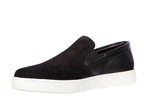 Prada Slip On Homme en Daim Sneakers Noir