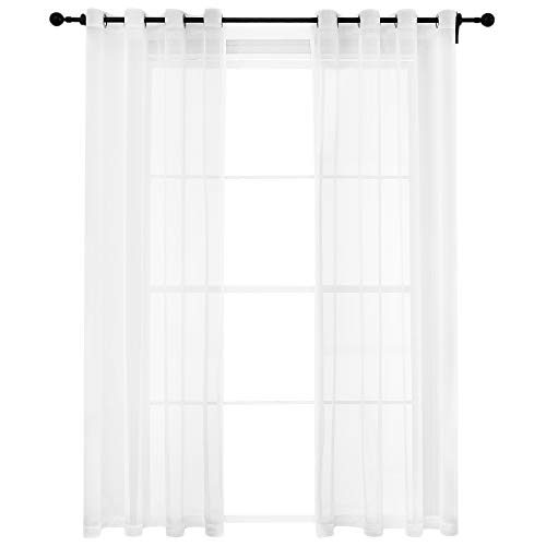 Bermino White Sheer Curtains 54 x 84 inch Voile Grommet Semi Sheer Curtains for Bedroom Living Room Set of 2 Curtain Panels