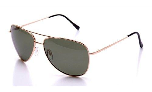 Herren Alu Sonnenbrille Polarisierend Piloten Matrix Fram Aviator New Wayfahrer, Rahmenfarbe:Braun