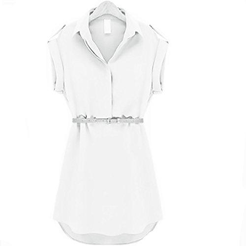 Vestido Gasa Mujer Verano Camiseros Solapa Sólido De Cinturón Con Corta Vestido De Fashion Vestido Verano Camisa Manga Mini Color Señoras Elegantes Vestido Dresses Vestidos Anchas Vestidos De Vestidos Blanco wtIdqyXX