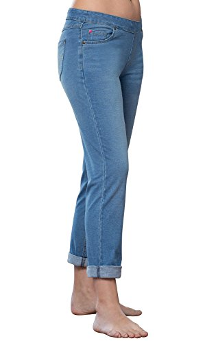 PajamaJeans Women's Soft Stretch Denim Boyfriend Jean, Blue Bermuda, Medium ()