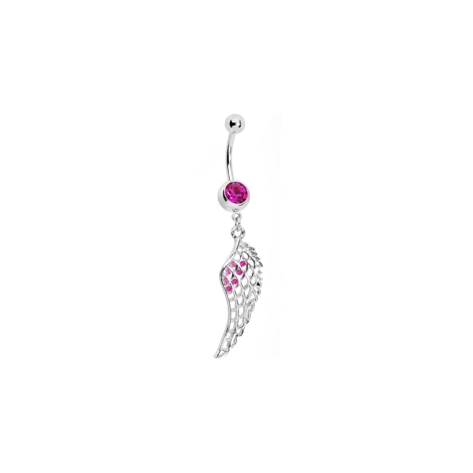 Pink Gem Angel Wing Belly Ring