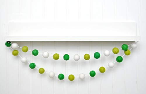 6 foot Kelly Green White Felt Ball Garland, Pom Pom Banner, St. Patrick's Day Decoration, Party Decor, 24 balls ()