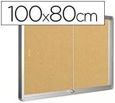 Q-Connect 926360 - Vitrina de puertas correderas, fondo de corcho, aluminio, color cian: Amazon.es: Oficina y papelería