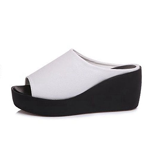 T-JULY Women's Beach Slippers Thick Bottom Anti-Skid Sandal Wedge High Heel Slide Sandals White by T-JULY