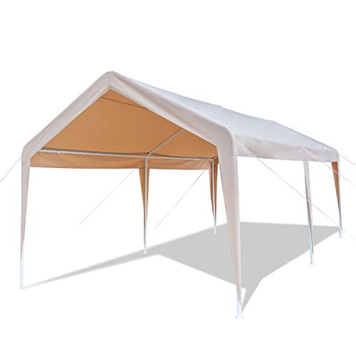 Garden Wooden Canopy (VINGLI 10'x20' Heavy Duty Carport Car Canopy,Outdoor Wedding Party Event Tent Garden Gazebo,Upgraded Sturdy Vehicle Sunshine Shelter, 250G Polyester Fabric Cover Waterproof Anti-uv, Khaki)